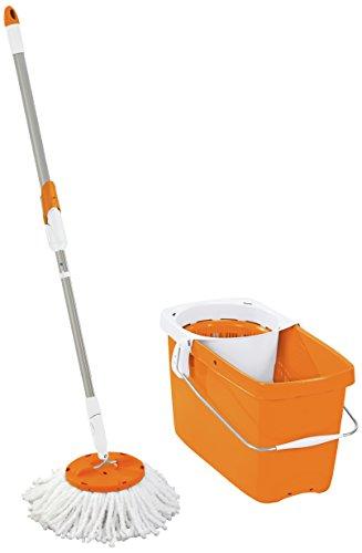 Leifheit Set Clean Twist Disc Mop Wischer für nebelfeuchte Reinigung, Wischmop mit effizienter Schleudertechnologie, Schleudermop, Bodenwischer mit Mikrofaser Bezug, Click-System, edition orange