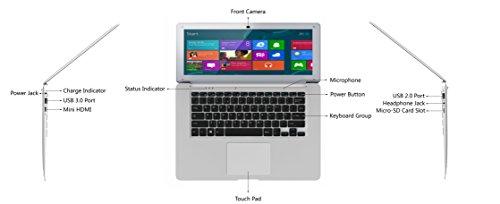 HKC NT14W-DE 35,6cm (14 Zoll ) 1920x1080 Full HD IPS Bildschirm Laptop, 4GB RAM, 32GB eMMC Speicher, USB 3.0, (Intel Atom Quad Core, x5 Z8350 CPU, Burst Frequenz 1,92 GHz, Intel FHD, Deutsch Windows Home 10, 64 Bit), Deutsch Tastatur. Deutsch Netzadapter, Silber, neue Version - 3