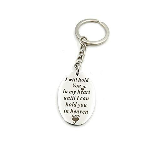 KnSam Schlüsselring Aus Edelstahl Schlüsselhalter Ich Halte Sie In Meinem Herzen Ovale Erkennungsmarke Silber Schlüsselanhänger mit Kostenlos Gravur -