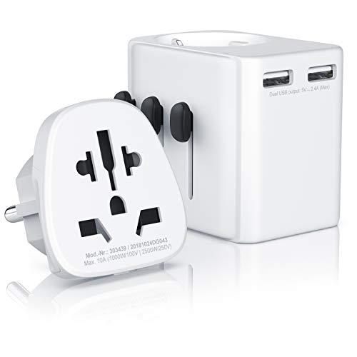 CSL - Universal Reiseadapter | 2 in 1 Reise Steckdosen Adapter universal | mit Schutzleiter | für über 100 Länder und Regionen wie u.a. UK USA AUST China | 2X USB Anschlüsse