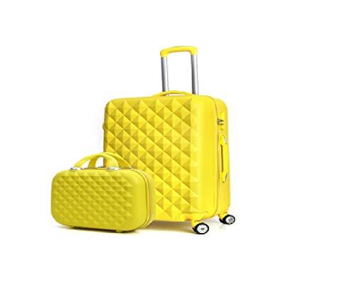 Gepäck Koffer Jugendmode. Diamant-Muster-Mutterreisegepäck-Trolley. Süße Kosmetiktasche (Farbe: gelb) zum Reisen