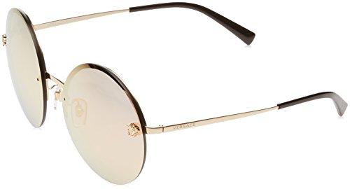 Versace 0ve2176 12524z 59, occhiali da sole donna, oro (pale gold/greymirrorrosegold)