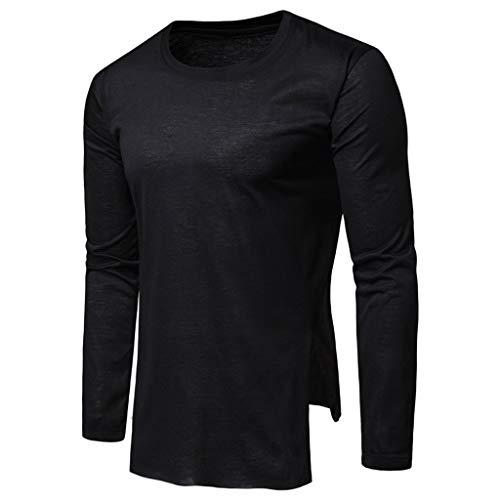 Herren Basic O-Neck Tee Langarmshirt Slim Fit Langarm Rundhals Shirt Longsleeve T-Shirt Sweatshirt in Farben Vegan -