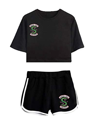 Mädchen Hose Top (Riverdale Tops und Hosen Damen, Teenager Mädchen Mode Southside Serpents T-Shirts und Shorts Sommer Sport Crop Tops Anzug Bauchfrei Oberteile Kurze Tank Top Frauen Kurzarm Blusen T-Shirt (b-b,S))