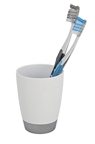 WENKO 19477102 Zahnputzbecher Vercelli - Zahnbürstenhalter für Zahnbürste und Zahnpasta, Polypropylen, 8 x 13 x 8 cm, Weiß