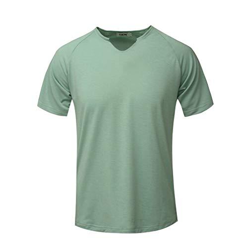 Epig Man Einfache Plain Summer Tops Fashion Herren Kurzarm Solide Komfortable T-Shirt Beiläufige Dünne V-Ausschnitt T-Shirt Sport Tops -