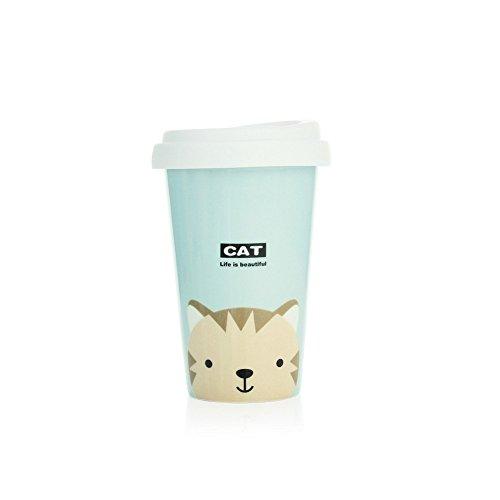 UPSTYLE Cute taza de café Animal de cerámica taza de viaje taza de café con tapa de silicona para té y café, seis patrón, 13.5oz, cbm6,Gato azul