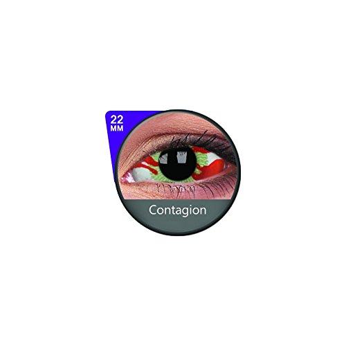 1 Paar Sclera CONTAGION Kontaktlinsen linsen farbige rot weiss grün vampir sklera mit Box dämon halloween kostüme ()