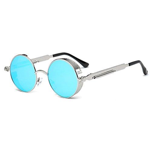 e5c0fae1be3178 Juleya Gothic Steampunk Runde Metall Sonnenbrille für Männer Frauen Spiegel  Kreis Retro Vintage.