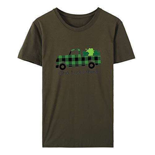 GOKOMO Frauen St. Patrick's Day Print Kurzarm Rundhals Top T-Shirt(Armeegrün-A,Large) -