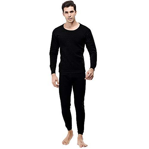TIFIY Herren Thermo Unterwäsche Anzug Winter Warm Rundkragen Set Skinny Hose Jogginganzügesportanzug BasicPure Farbe Set(Schwarz,L)