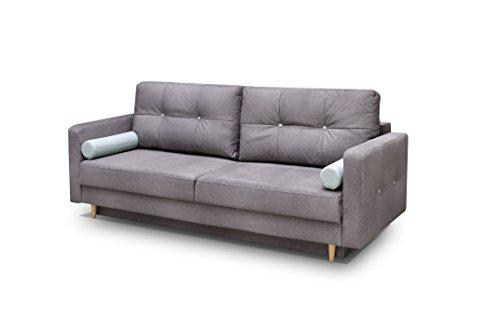 mb-moebel Couch mit Schlaffunktion Sofa Schlafsofa Wohnzimmercouch Bettsofa Ausziehbar - Newark (Grau)