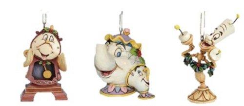 Disney Traditions Beauty & The Beast, Mrs Potts & Chip, Cogsworth & Lumiere zum Aufhängen als Weihnachtsbaumschmuck von Jim Shore