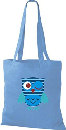 ShirtInStyle Jute Stoffbeutel Bunte Eule niedliche Tragetasche mit Punkte Owl Retro diverse Farbe, hellblau