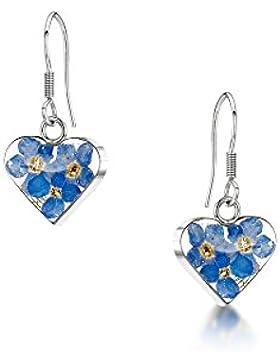 Silberschmuck mit echten Blumen: Ohrhänger - Vergissmeinnicht - Herz - in Geschenkbox