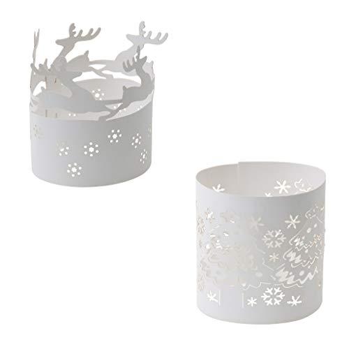 non-brand Sharplace 20x Blanco Vela Decoración Papel Té Luz Titular Fiesta Navidad Copo de Nieve