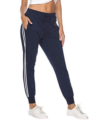 Hawiton Damen Sporthose Jogginghose Lang Streifen Baumwolle Freizeithose Hose für Fitness Training Blau XL