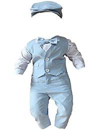 Lito Angels Baby Junge Satin Taufe Outfit Langarm Hochzeit Anzug mit Haube 5-teiliges Set Wei/ß