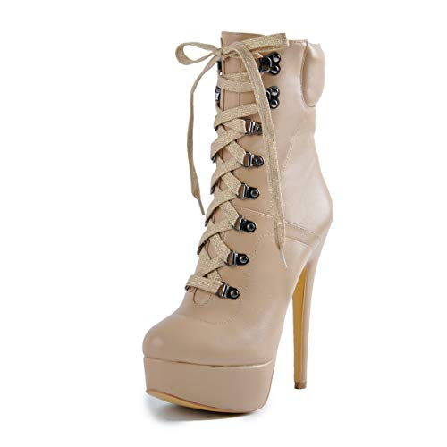 Onlymaker Damen Schnürstiefeletten Plateau Pumps Ankle Boots Stilvolle Platform Knöchelstiefel mit Stiletto Absatz Beige 46 EU -