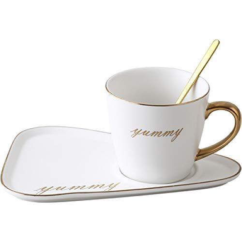 Tasse Hotelkaffee Nordische Keramik Kaffeetasse und Untertasse Frühstück Dessert Nachmittagstee Geschirr Tablett Restaurant Kreativer europäischer Stil Kleiner Luxus E 260ml