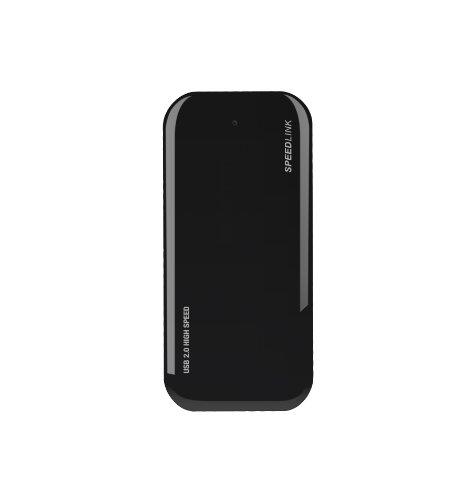 Speedlink Nobilé aktiver 4-fach USB Hub mit Netzteil (4 USB 2.0-Anschlüsse, 1,4m Kabellänge) schwarz