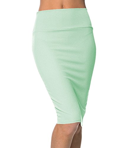 Urbancoco Damen Bleistift Rock Kurz Hohe taille Stretch Business Rock (L, minze) (Taille Rock Bleistift Hohe)