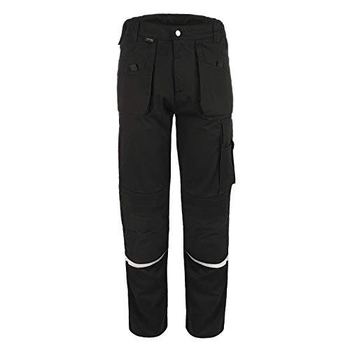 TMG® Comfort Robuste Bundhose für Männer | Schwarz | Lange Herren Arbeitshose mit Kniepolster Taschen und Reflektoren | Ideal für Handwerker, Elektriker, Mechaniker 56