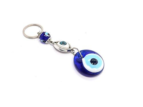 Schlüsselanhänger - Böser Blick Nazar Boncuk Evil Eye - Glücksbringer - Silber blau -