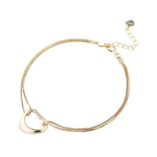 Beydodo Damen Armband 925 Sterling Silber mit Anhänger Herz Frauen Armband Gold Vintage 21 cm - Elemente Silber Charms