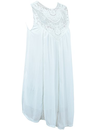 AZBRO Mode Spitze Hohle Splicing Pinafore Kleid White