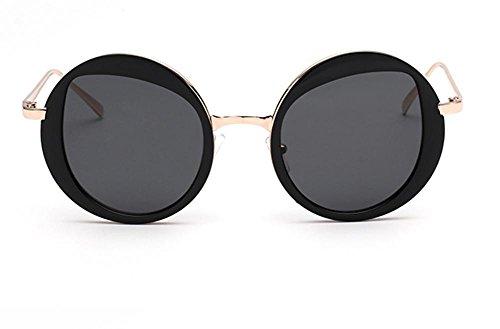 GZD Lunettes de soleil de mode pour dames Trendy Glasses Ultra Light Reflective Circular Mirror Black