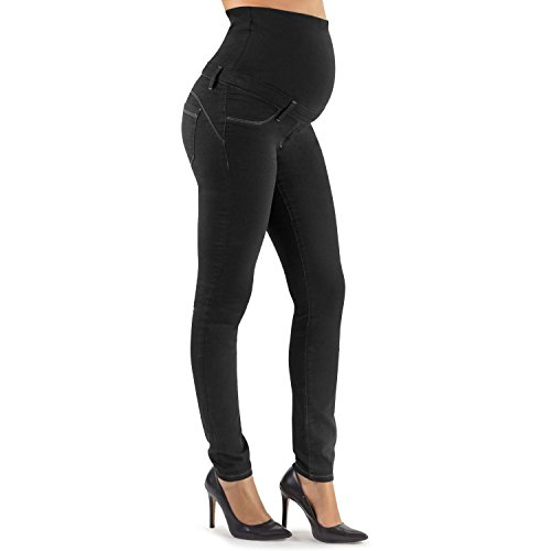 Mamajeans jeans premaman effetto push up, jeans skinny nero - made in italy (l, nero)