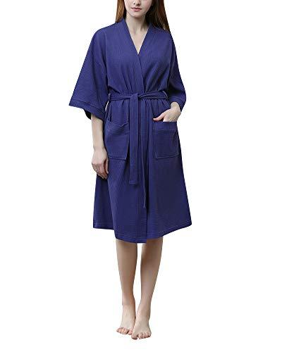DianShaoA Unisex Herren Damen Morgenmantel 3/4 Ärmel Waffel Bademantel Kimono Saunamantel Robe Mit V-Ausschnitt Weiblich Marine XL -