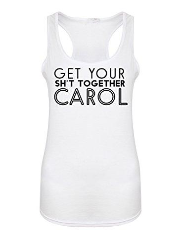 Get Your Sh*t Together Carol - Women's Racerback Vest - Fun Slogan Tank Top (X Small - UK Size 6-8, White/Black) (Top Annie Tank)
