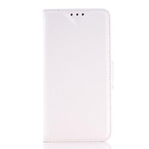 wkae Schutzhülle Fall & Schutzhülle für Samsung Galaxy S6/DM475C/G920Öl Haut Textur Leder Case mit Halter & CardSlots White