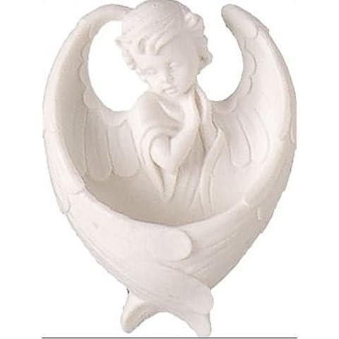 Tarjeta de oración Guardian Angel–Alas de ángel para agua bendita Blanco con Lourdes (3081)