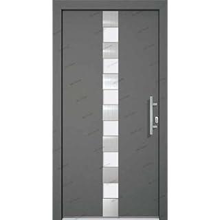 Aluminiumhaustür 110 x 210, mit Profilzylinder 40/40, Stoßgriff und Drückergarnitur, 3-fach Verr., Modell AHT2, Din rechts, anthrazit