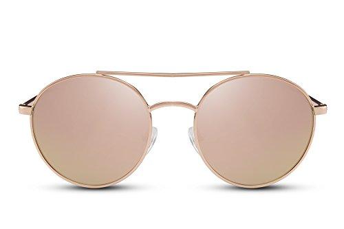 Cheapass Sonnenbrille Rund Gold Gelb Verspiegelt UV-400 Designer-Brille Festival-Accessoire Metall Frauen Damen Mädchen