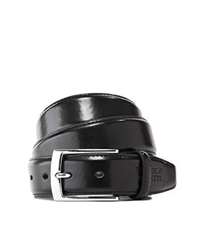 Vincenzo boretti cintura uomo in pelle con fibbia ad ardiglione argento, pelle lucida nero 110 cm