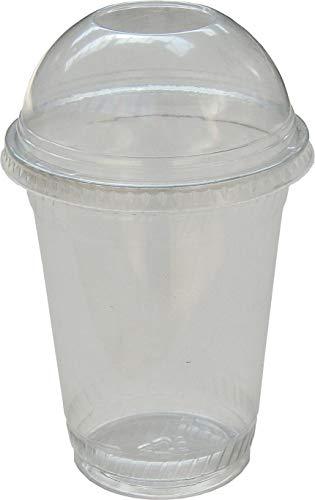 Smoothie Cup Smoothie Becher + Domdeckel mit Rundloch 12oz. 440ccm (300ml) Früchte Plastik Becher für Smoothies, Frozen Drinks, Desserts, wiederverwendbar - glasklar - ()