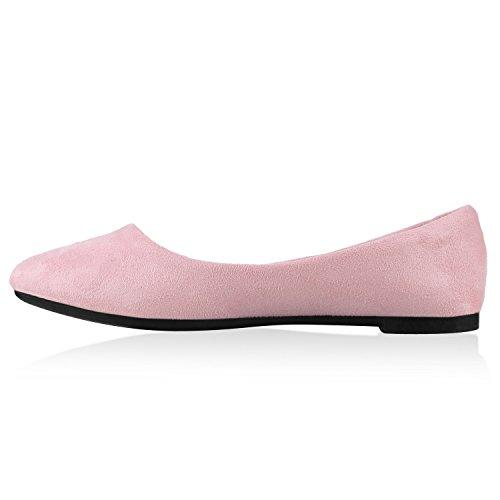 Klassische Damen Ballerinas Lederoptik Slipper Flats Schuhe Rosa