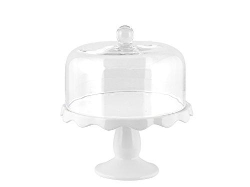 H&H Assiette sur Pied avec Cloche, Verre, Blanc, 11 cm/Diamètre 23 cm