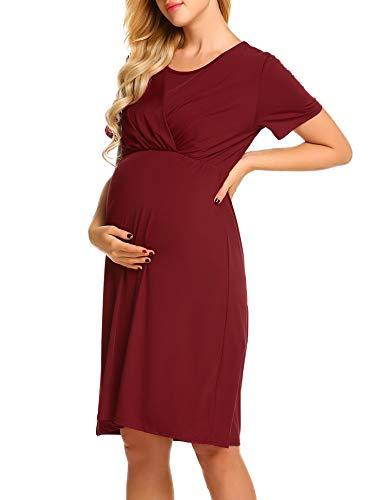 Umstandskleid Elegant Lang Stillkleid Festlich Knielang Schwangerschafts Kleid Umstandspyjama
