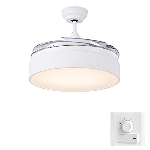 Deckenventilator ZHAOSHUNLI Licht Dimmen American Modern Minimalist Invisible Fan Home Wohnzimmer Esszimmer Schlafzimmer Industrial Electric Fan Kronleuchter Weiß 42 Zoll (Color : Wall Control) - Weiß Electric Fan