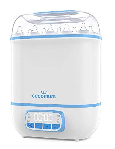 5 In 1 Dampfsterilisator ECCOMUM Babyflasche Sterilisator mit Trocknungsfunktion 600W, Platz für bis zu 8 Flaschen, LED-Touchscreen, 360 ° -Dampfsterilisation und -Trocknung, HEPA-Filter