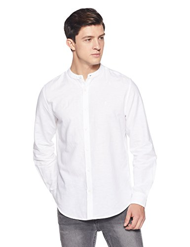 United Colors of Benetton Men's Solid Slim Fit Casual Shirt (18P5EC72U008I_White_L)