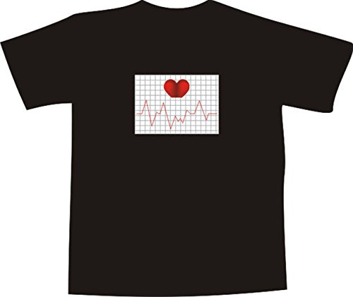 T-Shirt E265 Schönes T-Shirt mit farbigem Brustaufdruck - Logo / Grafik - minimalistisches Motiv - EKG Diagramm Herzschlag Schwarz