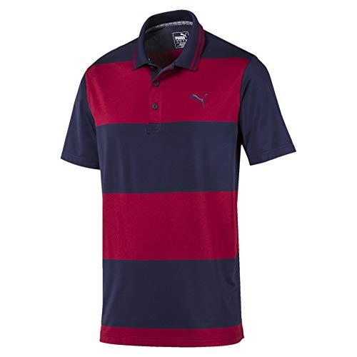 PUMA Rugby Herren Golf Polo Peacoat-Rhubarb XXL