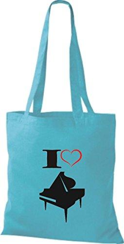 Shirtstown Pochette en tissu Musique I Love ailes Concert Piano Bleu - sky