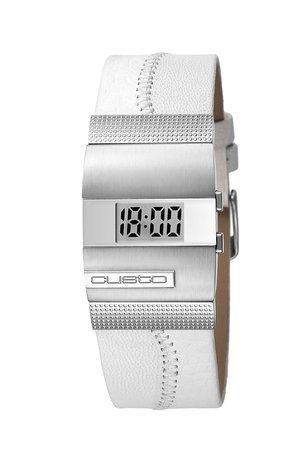 Custo on time cu034601–Reloj de pulsera de mujer, correa de piel color blanco